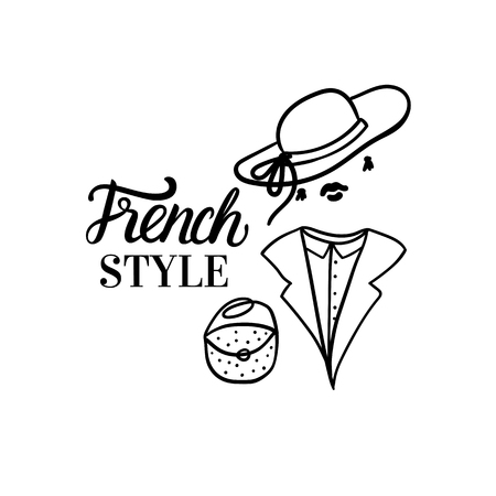 French Style woman Fashion black illustration woman with hat and collar and bag. Vector hand sketch illustration isolated on white background.
