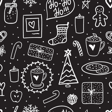 Doodle seamless pattern Merry Christmas night. Vector White hand drawing on black background. Holidays mood set: sock, gift, tree, candles, jar of milk, a cup cocoa