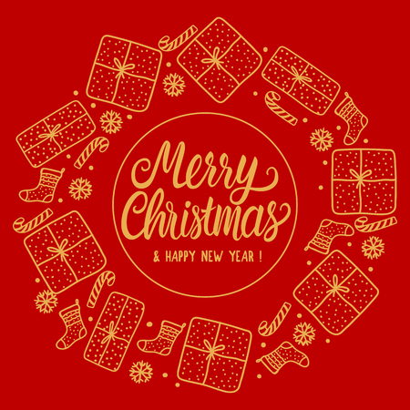 Round frame Merry Christmas Greeting card holiday with gold Lettering inscription. Hand drawn Gift box and santa sock, candy cane on red background.
