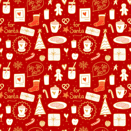 Cozy hand drawn seamless pattern texture. Milk cocoa and cookies for Santa. Vector set cute illustration concept Merry Christmas mood.