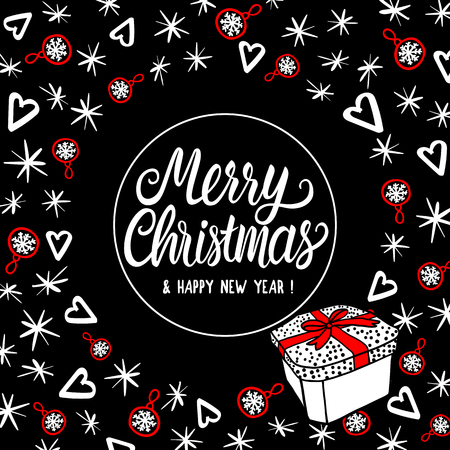 Merry Christmas greeting card with lettering inscription. Abstract fashion style holiday design. Vector sketch illustration elements and gift box. Ilustrace