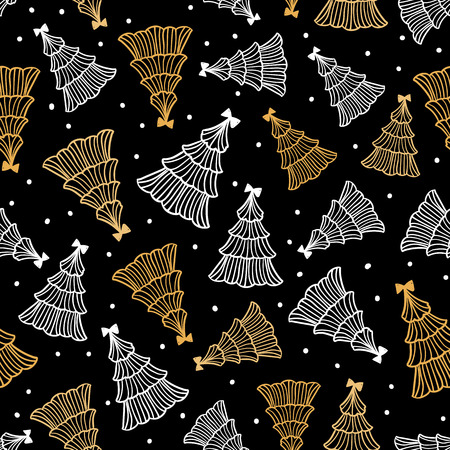 Vector golden and white christmas tree seamless pattern. Hand drawn illustration isolated on a black background. Celebrate abstract texture design Ilustrace