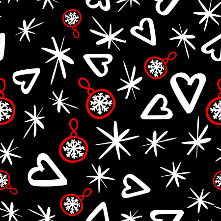 Vector Seamless pattern with sketch elements. Abstract fashion style. Merry Christmas holiday design. Black and white with red design background Ilustrace