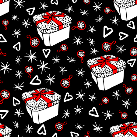 Vector Seamless pattern with gift box and sketch elements. Abstract fashion style. Merry Christmas holiday design. Dark night background concept.