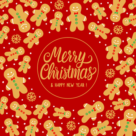 Greeting card Merry Christmas with Gingerbread cookie man pattern. Vector illustration on red background. Lettering inscription and holiday design.