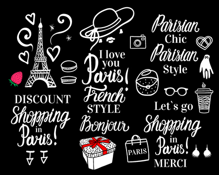 Vector Shopping in Paris night. Set white fashion illustration collection and lettering inscription. Parisian Style on black background