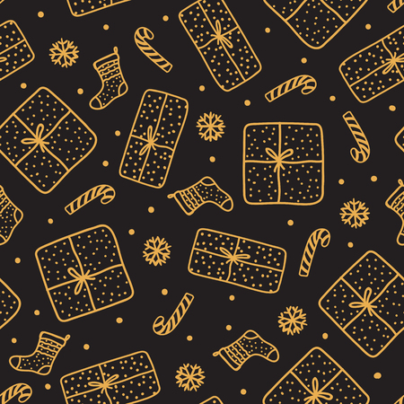 Hand drawn gold Christmas seamles pattern. Gift box and santa sock, candy cane isolated on dark background. Design texture night holiday. Ilustrace