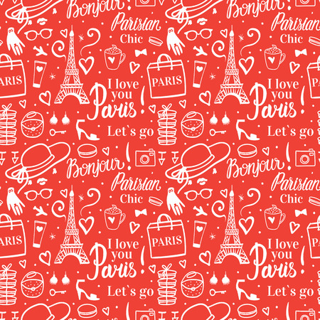 Seamless pattern Holiday shopping travel in Paris. Fashion style illustration with Eiffel Tower. Red and white background.