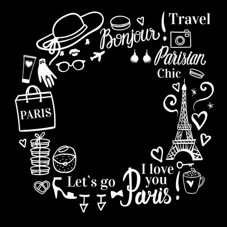 Vector Frame with space for text. Paris fashion shopping near the Eiffel tower. White illustration and black bacground.