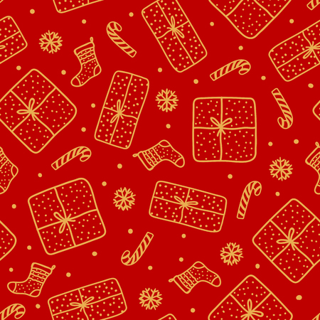 Cute gold Christmas seamles pattern. Handdrawn Gift box and santa sock, candy cane isolated on red background. Design texture holiday.