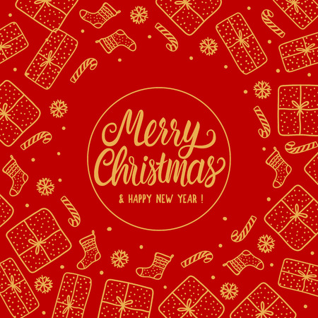 Merry Christmas Greeting card holiday with gold Lettering inscription. Hand drawn Gift box and santa sock, candy cane on red background.