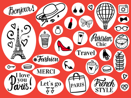 Vector Set fashion illustration on round retro stickers. Black hand drawn sketch Paris and Eiffel Tower, inscription and glamour simbols. Ilustrace