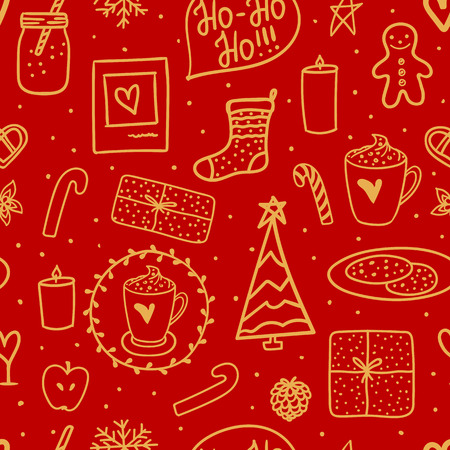 Merry Christmas design wrapping paper. Golden hand drawing on red background. Vector seamless pattern. Holidays mood set elements.