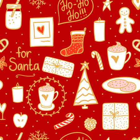 Hot Milk cocoa and cookies for Santa. Hand drawn Merry Christmas elements mood. Vector illustration nordic style gold white red background.