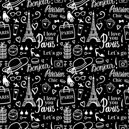 Paris shopping white and black seamless pattern. Eiffel tower woman tourism tour with a shop concept. Elegant hand drawn style. Lettering inscription and typography. Ilustrace