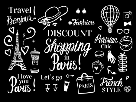 Vector banner with fashion illustration. Discount shopping in Paris. Travel tour of Parisian chic and french style. Womens accessories. Illustration