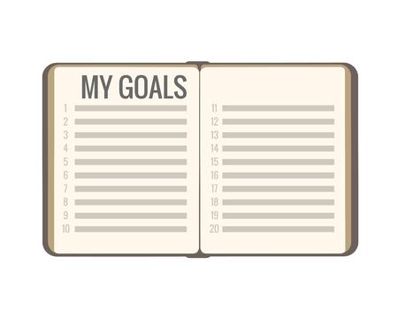 My Goals PLAN New Year 2019. Flat notebook book open with list. Vector isolates on white background. Serious business palette