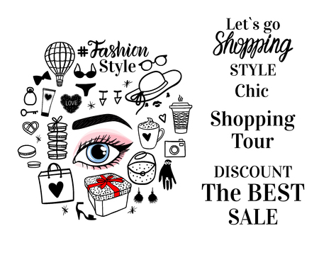 Round concept with type. Girl eye with fashion style illustration shopping tour center.
