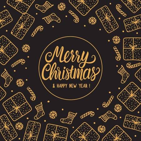 Greeting card Merry Christmas holiday with gold Lettering inscription. Hand drawn Gift box and santa sock, candy cane on dark background.