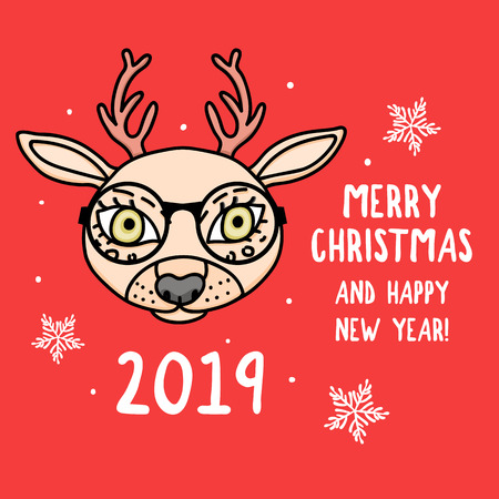 Vector Deer character with round glasses. Merry Christmas. Card with cute animal head isolated on red. Holiday hand drawn design 2019