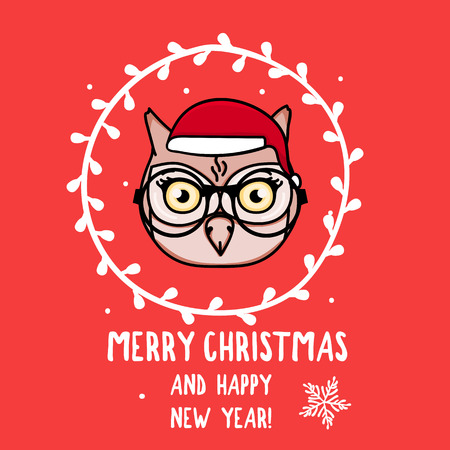 Vector Owl character with round glasses. Merry Christmas. Card with cute animal head isolated on red. Holiday hand drawn design 2019 Ilustrace
