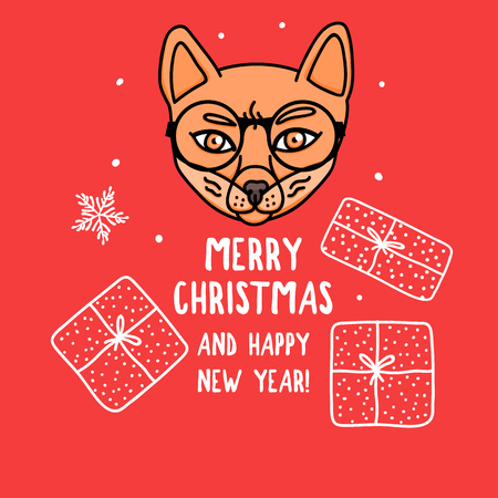Vector Fox character with round glasses. Merry Christmas. Card with cute animal head isolated on red. Holiday hand drawn design 2019