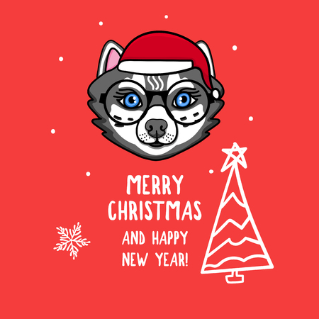 Vector Wolf character with round glasses. Merry Christmas. Card with cute animal head isolated on red. Holiday hand drawn design 2019 Ilustrace