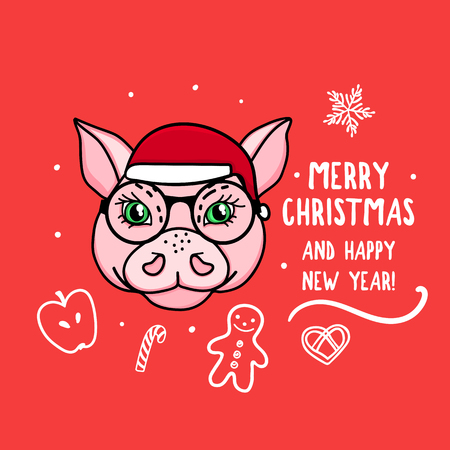 Vector Pig character symbol of the year with glasses. Merry Christmas. Card with cute animal head isolated on red. Holiday hand drawn design Ilustrace