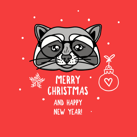 Vector Raccoon character with round glasses. Merry Christmas. Card with cute animal head isolated on red. Holiday hand drawn design 2019 Ilustrace