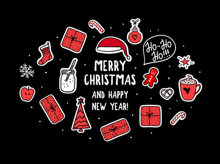 Vector new year set for card, banner. Merry Christmas symbols holidays design. Stikers on dark background. Trend red and black colos