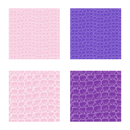 Set seamless pattern. Vector Leather Fashion texture pink and purple trandy Leather background. Merry Christmas and New Year luxurious holiday design card. Ilustrace