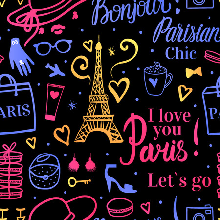 Vector Seamless pattern. Bright color Shopping in Paris airport. Bonjour Lets go Travel Eiffel Tower. Fashion illustration on dark background.