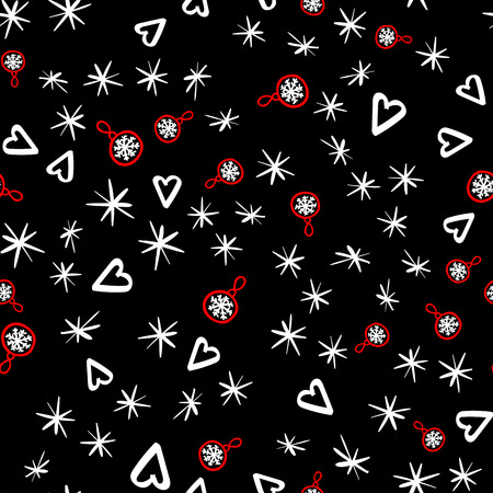 Vector Seamless pattern with sketch elements. Abstract fashion style. Merry Christmas holiday design. Black design background