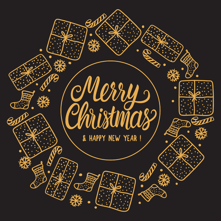 Round frame Merry Christmas Greeting card holiday with gold Lettering inscription. Hand drawn Gift box and santa sock on dark background.