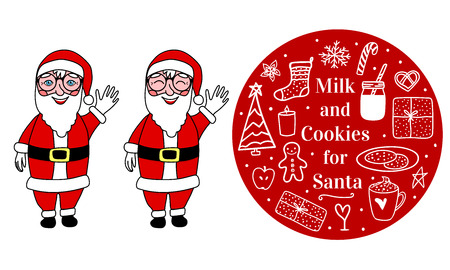 Santa Claus full length. Cozy hand drawn on round. Milk cocoa and cookies for Santa. Vector set illustration concept Merry Christmas mood isolated on white background
