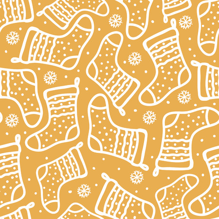 Gold Seamless pattern winter new year background. Vector Doodle white hand drawn santa socks with polka dot.