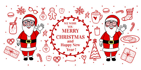 Banner Cozy hand drawn white on card. Santa Claus full length. Vector set illustration concept Merry Christmas mood isolated on white background Ilustrace