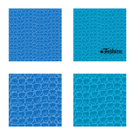 Set seamless pattern. Vector Leather Fashion texture blue trandy Leather background. Merry Christmas and New Year luxurious holiday design card.