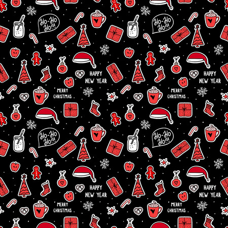 Vector seamless pattern. Merry Christmas symbols holidays design. Stikers on dark background. Trend red and black colos