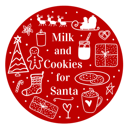 Milk cocoa and cookies for Santa. Cozy hand drawn on round. Vector set illustration concept Merry Christmas mood isolated on white background