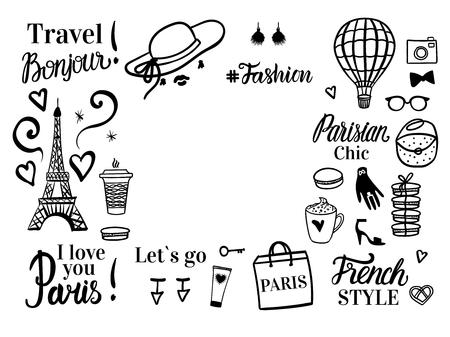 Wycieczka po Paryżu. Zestaw zakupy czarny szkic ilustracji mody. Baner z miejscem na tekst. Wektor na białym tle. Ilustracje wektorowe