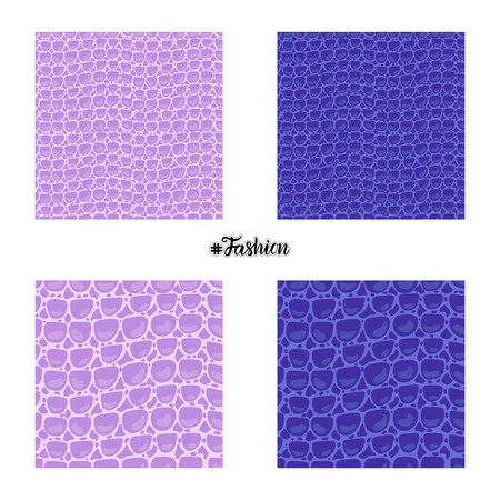 Set seamless pattern. Vector Leather Fashion texture blue and purple trandy Leather background. Merry Christmas and New Year luxurious holiday design card.