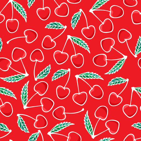 Hand drawing Cherry berry Fashion seamless pattern isolated on red background. Vector illustration print design. Holiday Merry Christmas sweet kids print design texture