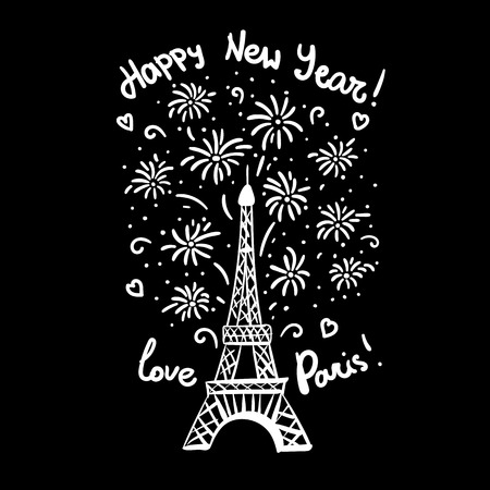 Happy New Year in Paris Card. Vector illustration ink Eiffel Tower with salute. Hand drawn white isolated on black background