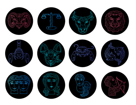 Set round signs of the zodiac hand draw. Luminous style color of the elements. Vector illustration isolated on a white background Çizim