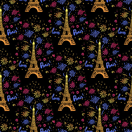 Colorful Happy New Year in Paris seamless pattern. Vector illustration ink Eiffel Tower with salute. Hand drawn white isolated on black background Ilustrace