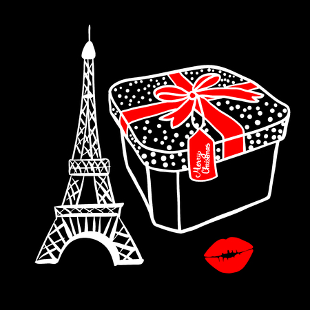 Fashion white sketch gift box with a red bow. Merry Christmas Paris Eiffel Tower. Vector illustration handdrawing on black background