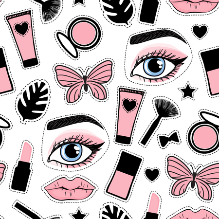 Seamless pattern cute fashion style. Set sign beauty makeup. Abstract cosmetic bottles and butterfly, face eye brow and lips hand drawing. Vector illustration is isolated on a white background.