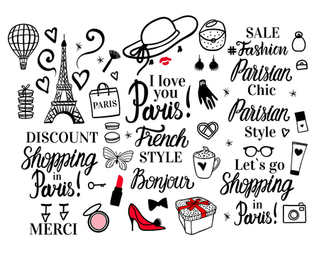 Set Paris lettering type. French Style woman Fashion black illustration woman. Vector hand sketch. Clothing, hat, shoes, gloves, package shopping, glasses, macaroons