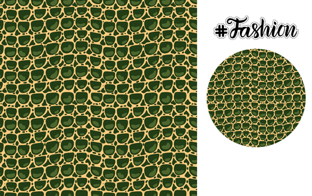 Fashion luxurious texture Leather seamless pattern. Merry Christmas and New Year green holiday design. Vector Hand illustration card and round form isolated on white background. Illustration